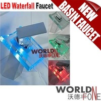 LED Glass Waterfall Faucet, Kitchen/ Bathroom Basin Faucet 3pcs/lot (WF-QH0815F)