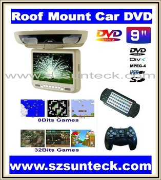 9 inch Roof mount car dvd palyer with 8&32bit game+MPEG4+USB+SD+FM