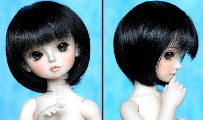 "77# Black Wig For 1/3 SD AOD BJD Dollfie 8-9""(China (Mainland))"
