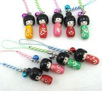 lots 100 PCS Kokeshi Doll Handbag/ Mobile Phone charms+Free Shipping