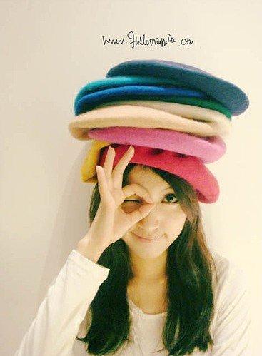 free shipping pure color beret lady's hat fashion beret(China (Mainland))