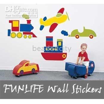 [funlife]-1pc drop ship transportation wall stickers-Transportation Vehicle Boy room Wall Decals(China (Mainland))