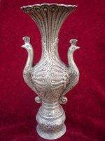 Very rare Ming Dynasty (xuan de1426-1438) Silver peacock vase,free shopping