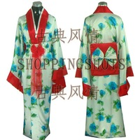 kimono wedding clothing dress dancwear suit 101703 blue free shipping