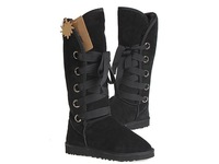 5818 Women Snow Boots Fashion Sheepskin Boot Black with Shoes Box