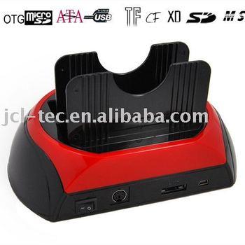 USB2.0 Dual bay SATA HDD Docking Station +ESATA+Card Reader with cloning Functiong
