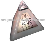 LED 7 color changing Triangle Pyramid music Alarm Clock