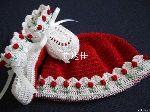 Tulipas vermelhas primavera tempo o 3-24 meses bebê menina Crochet chapéu e botas(China (Mainland))