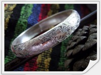 /Free Shipping/ Pure Silver(990s)  Traditional Chinese Patterns  Bangle Bracelets by All Human-made