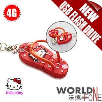 FREE SHIPPING!!! 50PCS/LOT 4G HELLO KITTY USB FLASH DRIVE MINI SLIPPER SHAPE USB MEMORY (US02)
