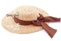 STRAW HAT/JAPANESE STYLE PANAMA BOATER HAT/LADIES HAT/WIDDER BRIM CAP/PROMOTIONS PRESENT RIBBON