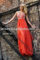 Free shipping red chiffon floor length beaded strapless prom gowns customize E3210