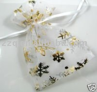 Free shipping 9x12cm white Snowflake pouch Wedding favor Organza gift Bags