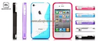 For iPhone 4G 4 S Line TPU Case Cover + 200pcs/lot +  Free Shipping