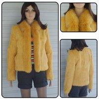 Wholesale fur coat,Korean Sweet girl Preferred 100% rabbit fur coat with fox fur collar jacket,coat,light tan&Free shipping