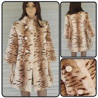 Wholesale fur coat,printing Double-breasted upright-collar 100% rabbit fur coat,long coat&Free shipping