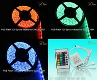 5M 300LED RGB FLASH 12V LED Flexible Strip Waterproof+1PC 24KEY Controller