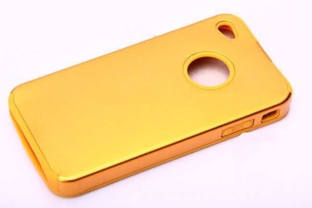 wholesale- Free shipping+F034 soft silicon with metal cell/mobile phone case for iphone 4G 10pcs/lot