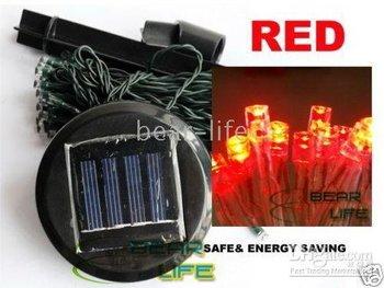 Fairy,Christmas light,Halloween light----20pcs/lot Red 60 LED Solar Power String Light Garden