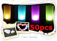 Wholesale 50pcs/lot New Colorful Changeable LED Light Romantic Solid Electronic Candle Flicker Sensor Blow On / Off  Control