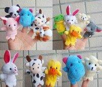 Children Gift/Hand-made 10 Types of Animal plush Finger puppets for children +Gift&Free Shipping