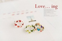 Christams Gift/Fashion Jewelry Heart Peach Colored Candy Love Hearts Interlocking Ring 100pcs/lot +Gift&Free Shipping