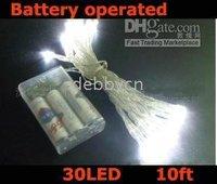 30 white battery operated christmas light/ LED light set 10ft string 20pcs/lot free shipping