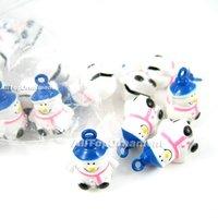 Free shipping, Wholesale 18pcs/lot Snowman Jingle BELLS Brass Christmas Crafts Beads