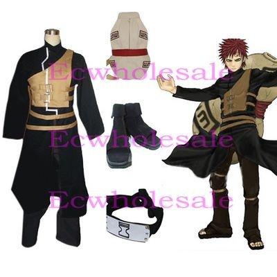 Naruto Shippuden Gaara Men's Cosplay Costume and Accessories Set - Free shipping(China (Mainland))