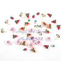 Free shipping wholesale 500pcs 6 styles handmade mix 3d (polymer clay) nail sticker for nail art acrylic
