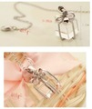 50 Pcs/lot Hot Clear Crystal Bowknot Box Necklace ( Alloy + Synthetic Quartz) Free Shipping