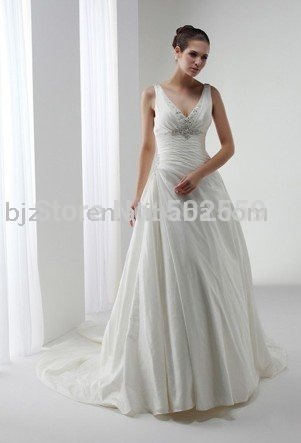 bead modified taffeta charming sleeveless bridal gown wedding dress free shipping gift a veil(China (Mainland))