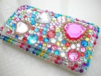 Free Shipping 100% Brand New Bling Fancy Crystal Diamonds Hard Plastic Back Cover Case for Iphone 3g case