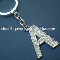 24PCS/Lot DHL/EMS free fast shipping Zinc alloy Letter keychain with top quality plating and Czech stone