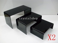 WHOLESALE FREE SHIPPING 3 LAYER BLACK ACRYLIC DISPLAY RISER SHOWCASE STAND x 2