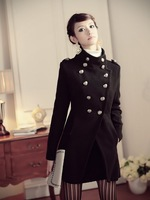 European Jazz style Double-breasted up-right collar woolen coat long coat,Military style Jacket,black&Free shipping
