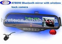 bluetooth rearview mirror car kit with wireless camera ATB090 Free shipping ems or ups