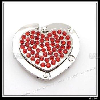 Red Rhinestones Heart Folding Hanger Handbag Purse Hook 5pcs