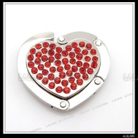 Red Rhinestones Heart Folding Hanger Handbag Purse Hook 5pcs
