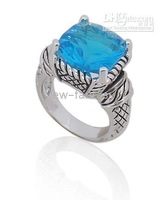 4CT BLUE TOPAZ ARCHAIZE 925 sterling SILVER RING SIZE M1/2, (US 6.5)