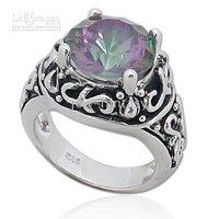 gemstone 925 sterling silver ring, mystic topaz, round topaz 03321