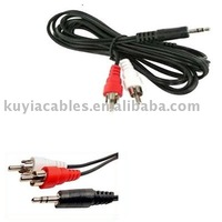 Free shipping +tracking number+ 40pcs/lot  3.5mm to 2 RCA Male Video Audio Cable Black 1.25m