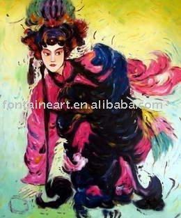 pintura oriental na tela- ópera ator(Hong Kong)