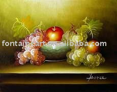 handmade still life oil painting,apple,grapes(Hong Kong)