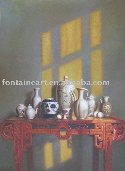 Handmade oriental pintura a óleo vida ainda cerâmica chinesa(Hong Kong)