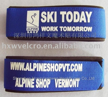 Guaranteed 100% Nylon Velcro ski strap+ Free Custom LOGO