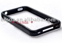 10pcs/lot&Free shipping New For Apple iphone 4 4G TPU Bumper Frame Case with Metal buttons