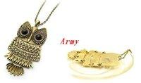 50pcs/lot Vintage Copper Lovely Gold Owl Lampwork Pendant Necklace