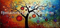 Handmade Abstract Decorative colorful Money Tree Painting oils on canvas,luck,fortune,freeshipping,50x100cm