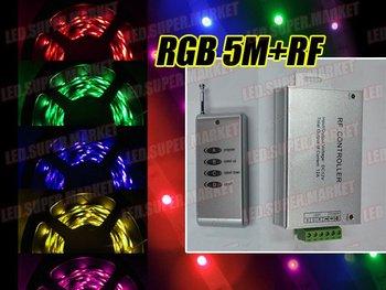 5M 500CM 5050 SMD RGB waterproof LED Strip+RF Remote+P